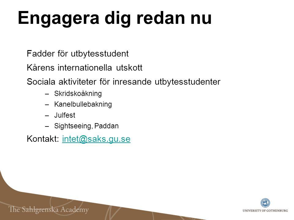 Engagera dig redan nu Fadder för utbytesstudent Kårens internationella utskott Sociala aktiviteter för inresande utbytesstudenter –Skridskoåkning –Kan