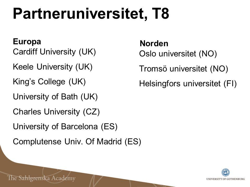 Partneruniversitet, T8 Europa Cardiff University (UK) Keele University (UK) King's College (UK) University of Bath (UK) Charles University (CZ) Univer