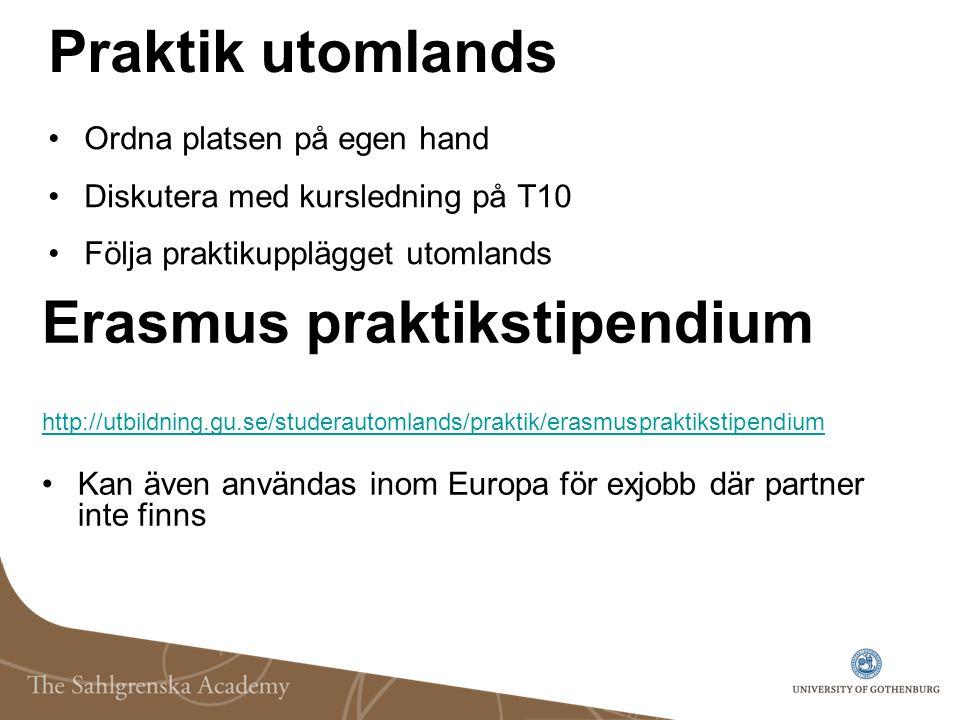 Praktik utomlands Ordna platsen på egen hand Diskutera med kursledning på T10 Följa praktikupplägget utomlands Erasmus praktikstipendium http://utbild