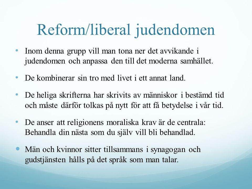 Reform/liberal judendomen Inom denna grupp vill man tona ner det avvikande i judendomen och anpassa den till det moderna samhället.