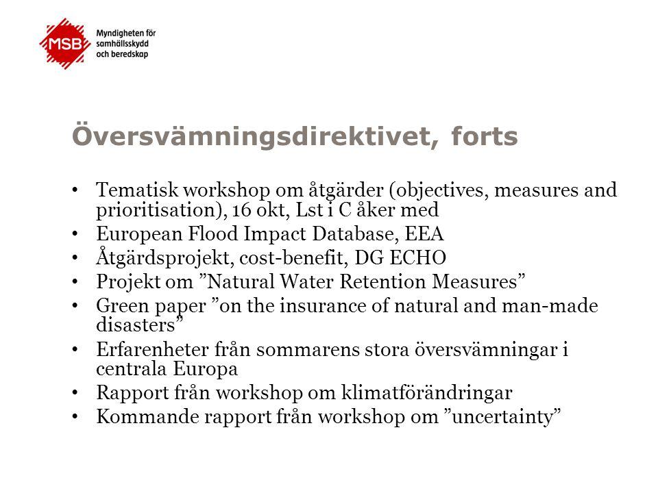 Översvämningsdirektivet, forts Tematisk workshop om åtgärder (objectives, measures and prioritisation), 16 okt, Lst i C åker med European Flood Impact