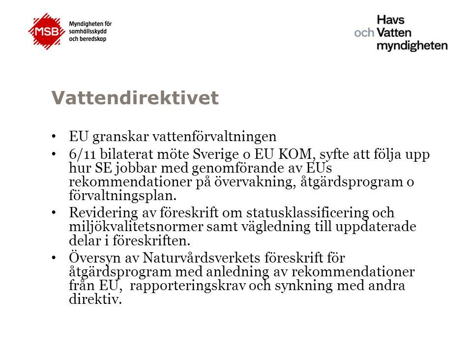 Vattendirektivet EU granskar vattenförvaltningen 6/11 bilaterat möte Sverige o EU KOM, syfte att följa upp hur SE jobbar med genomförande av EUs rekom