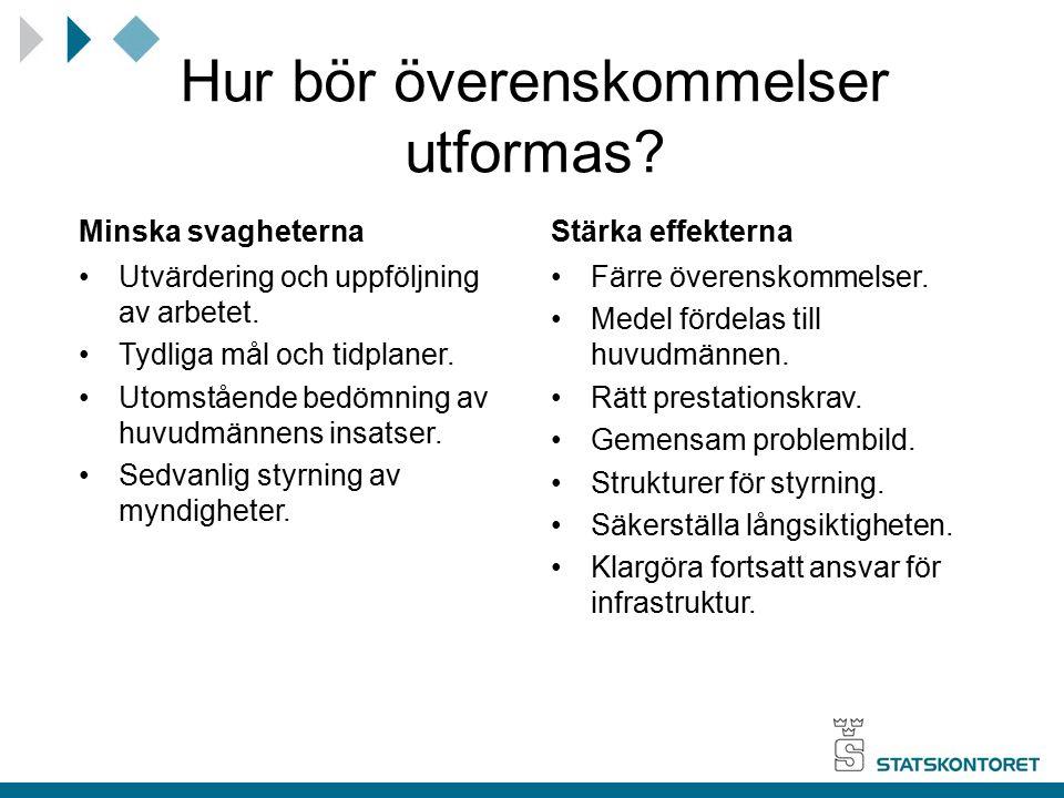 Hur bör överenskommelser utformas? Minska svagheterna Utvärdering och uppföljning av arbetet. Tydliga mål och tidplaner. Utomstående bedömning av huvu