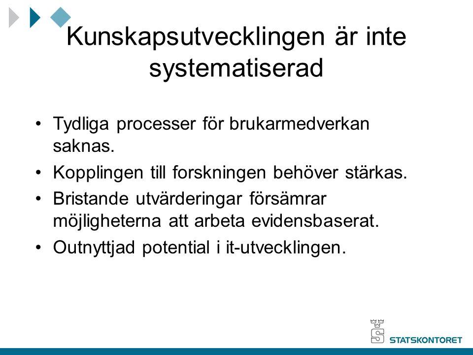 Kunskapsutvecklingen är inte systematiserad Tydliga processer för brukarmedverkan saknas. Kopplingen till forskningen behöver stärkas. Bristande utvär
