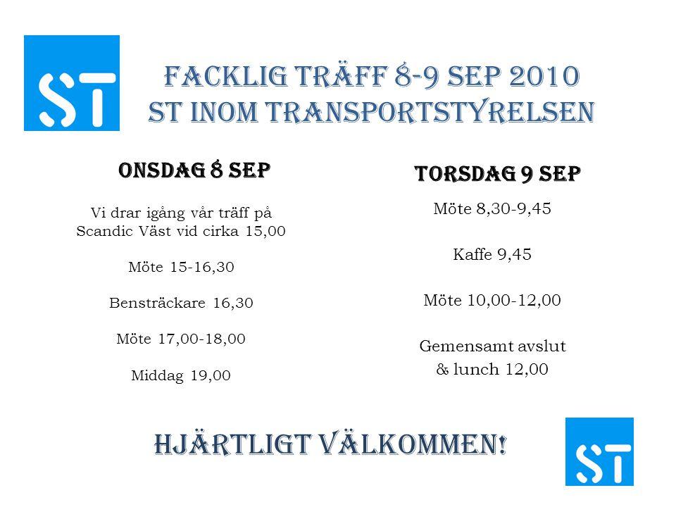 Facklig Träff 8-9 sep 2010 St inom Transportstyrelsen Onsdag 8 sep Vi drar igång vår träff på Scandic Väst vid cirka 15,00 Möte 15-16,30 Bensträckare