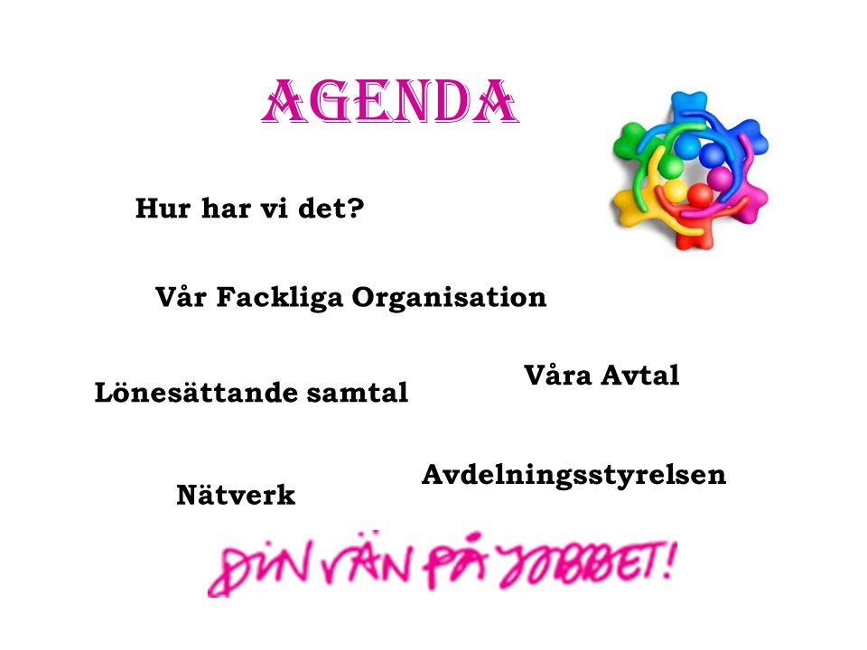 Agenda Hur har vi det? Vår Fackliga Organisation Våra Avtal Nätverk Lönesättande samtal Avdelningsstyrelsen