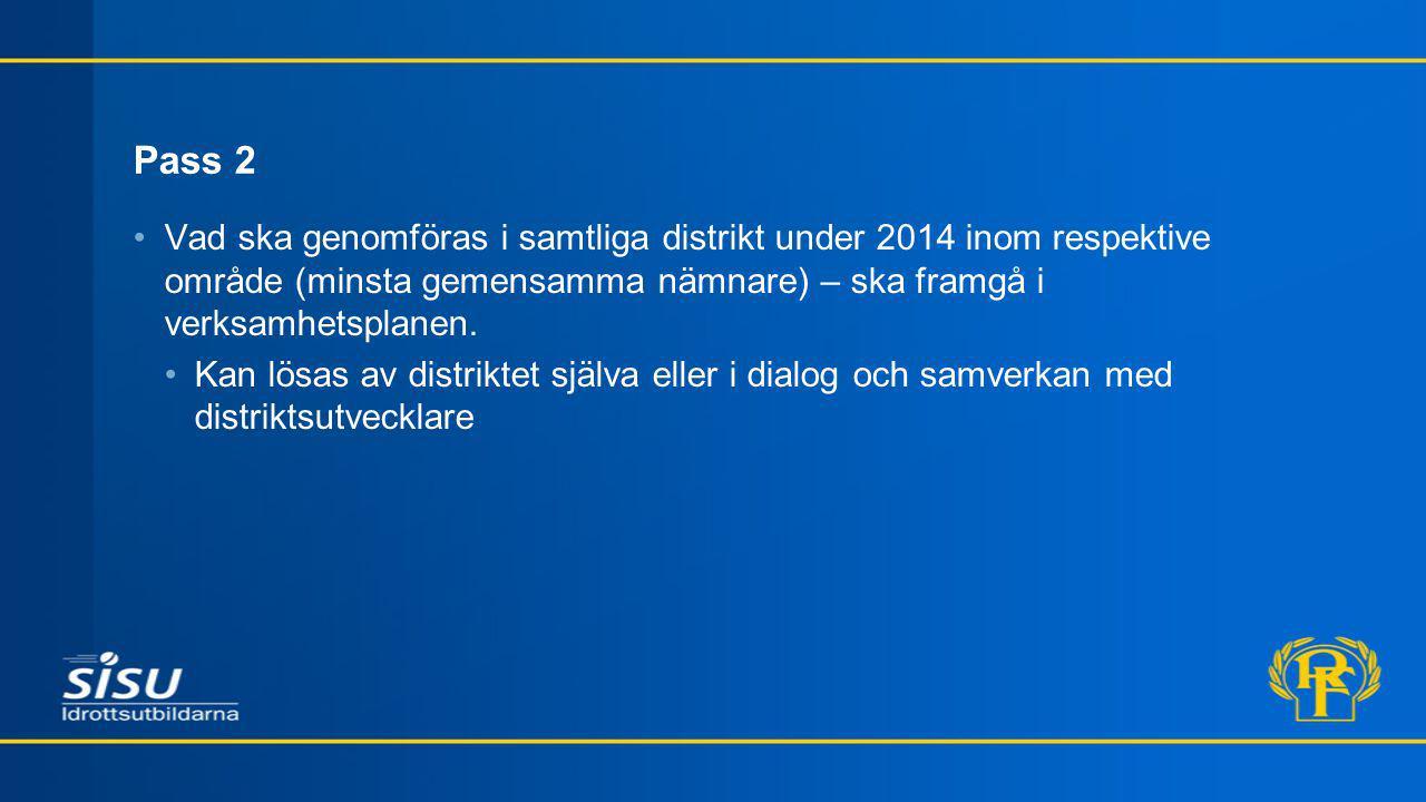 Pass 2 Vad ska genomföras i samtliga distrikt under 2014 inom respektive område (minsta gemensamma nämnare) – ska framgå i verksamhetsplanen.