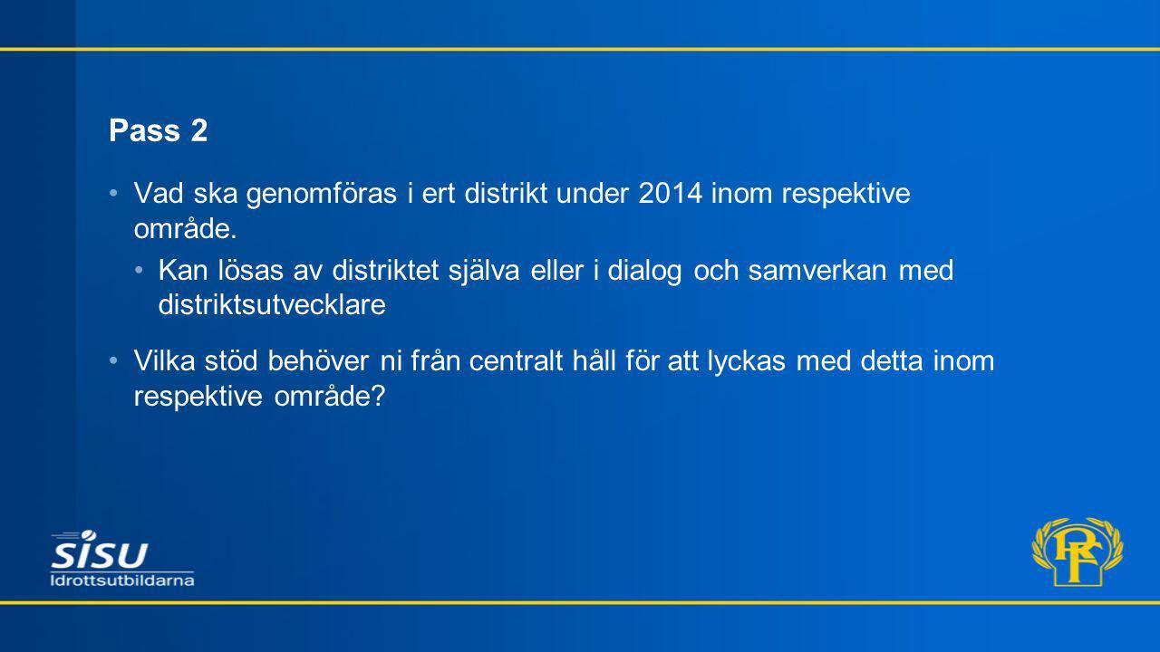 Pass 2 Vad ska genomföras i ert distrikt under 2014 inom respektive område.