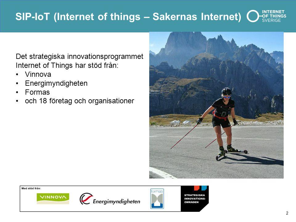 SIP-IoT (Internet of things – Sakernas Internet) 2 Det strategiska innovationsprogrammet Internet of Things har stöd från: Vinnova Energimyndigheten Formas och 18 företag och organisationer