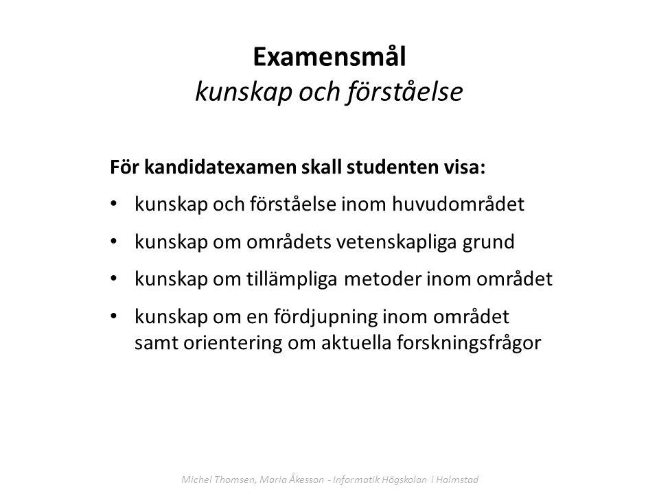 Examensmål kunskap och förståelse För kandidatexamen skall studenten visa: kunskap och förståelse inom huvudområdet kunskap om områdets vetenskapliga