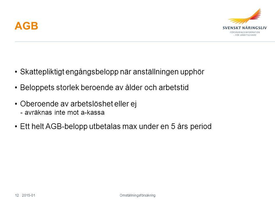 AGB Skattepliktigt engångsbelopp när anställningen upphör Beloppets storlek beroende av ålder och arbetstid Oberoende av arbetslöshet eller ej - avräk
