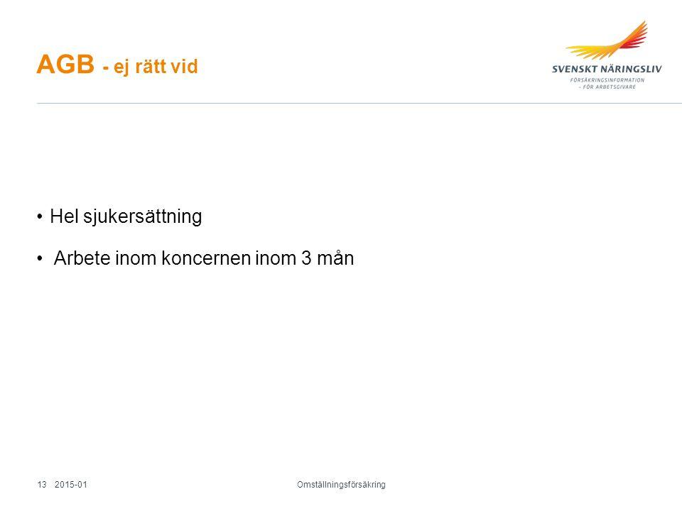 AGB - ej rätt vid Hel sjukersättning Arbete inom koncernen inom 3 mån Omställningsförsäkring 2015-0113