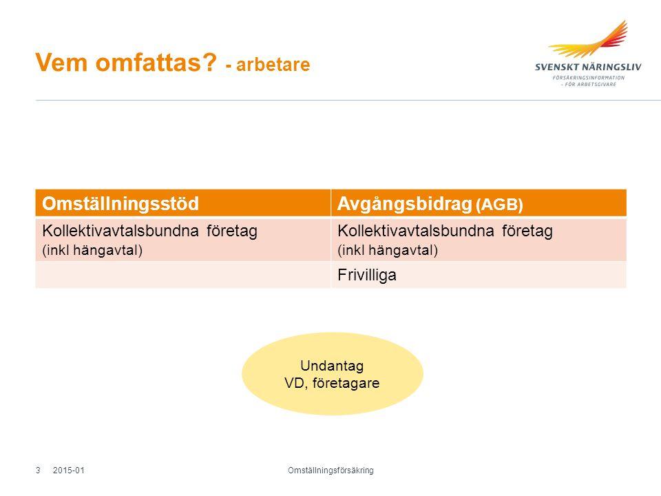 Vem omfattas? - arbetare OmställningsstödAvgångsbidrag (AGB) Kollektivavtalsbundna företag (inkl hängavtal) Kollektivavtalsbundna företag (inkl hängav