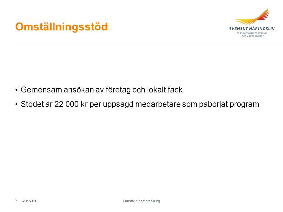 Omställningsstöd Gemensam ansökan av företag och lokalt fack Stödet är 22 000 kr per uppsagd medarbetare som påbörjat program Omställningsförsäkring 2