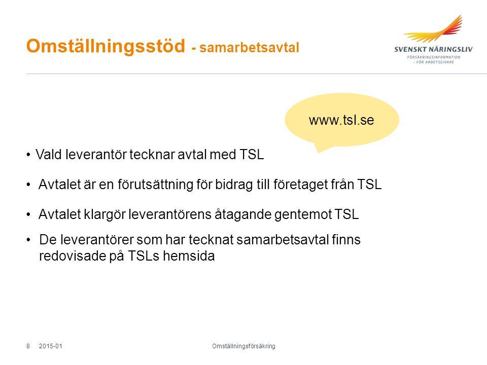 Omställningsstöd - samarbetsavtal Vald leverantör tecknar avtal med TSL Avtalet är en förutsättning för bidrag till företaget från TSL Avtalet klargör