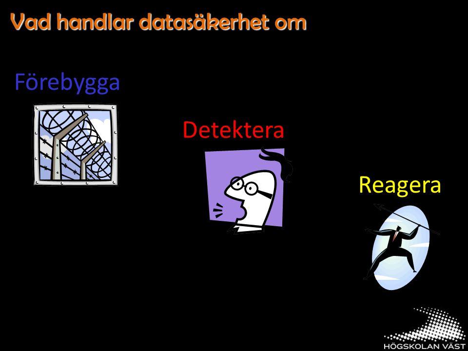 Vad handlar datasäkerhet om Förebygga Detektera Reagera