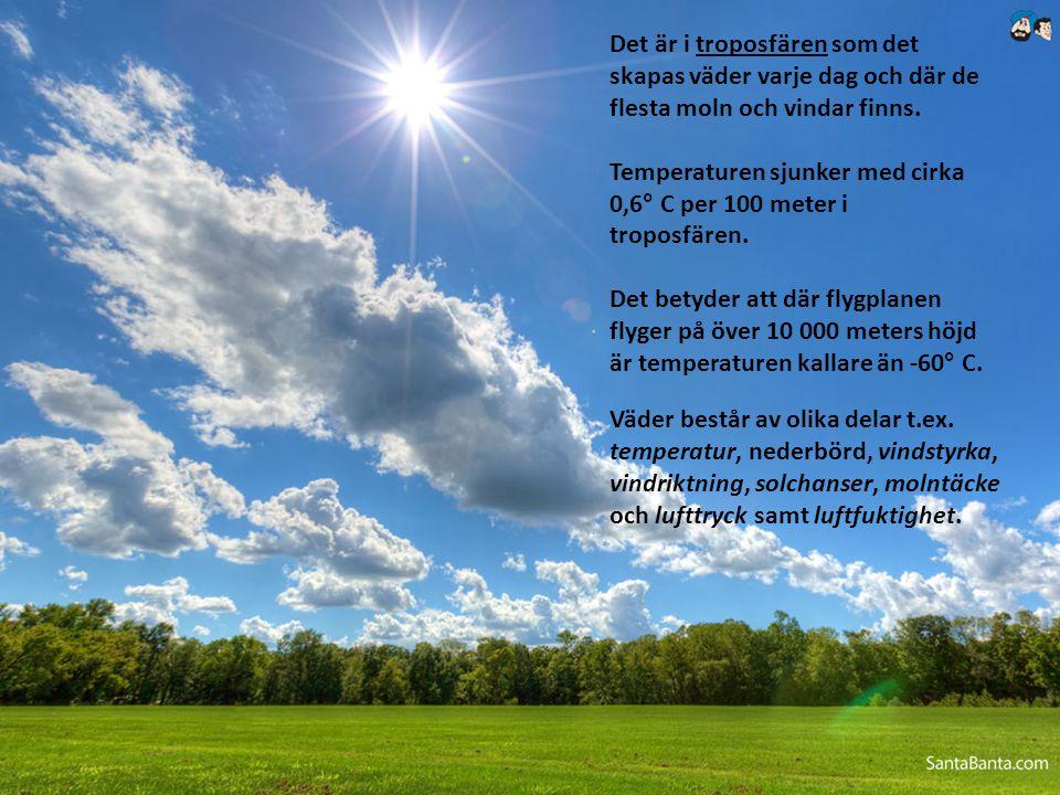 Det är i troposfären som det skapas väder varje dag och där de flesta moln och vindar finns. Temperaturen sjunker med cirka 0,6° C per 100 meter i tro