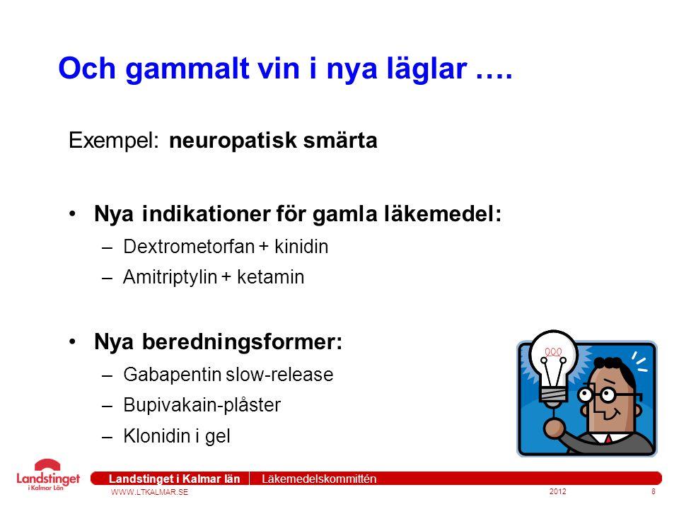 WWW.LTKALMAR.SE Landstinget i Kalmar län Läkemedelskommittén 20128 Och gammalt vin i nya läglar …. Exempel: neuropatisk smärta Nya indikationer för ga