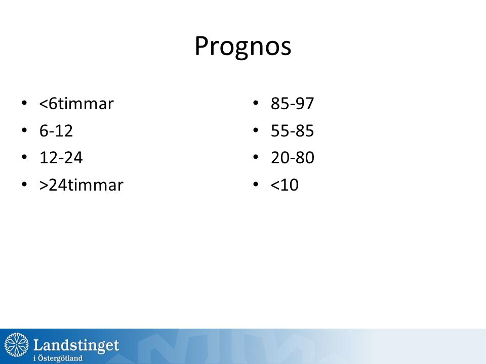 Prognos <6timmar 6-12 12-24 >24timmar 85-97 55-85 20-80 <10