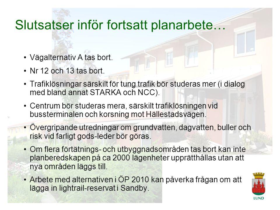 A Tingvar 2006-04-19 Slutsatser inför fortsatt planarbete… Vägalternativ A tas bort.