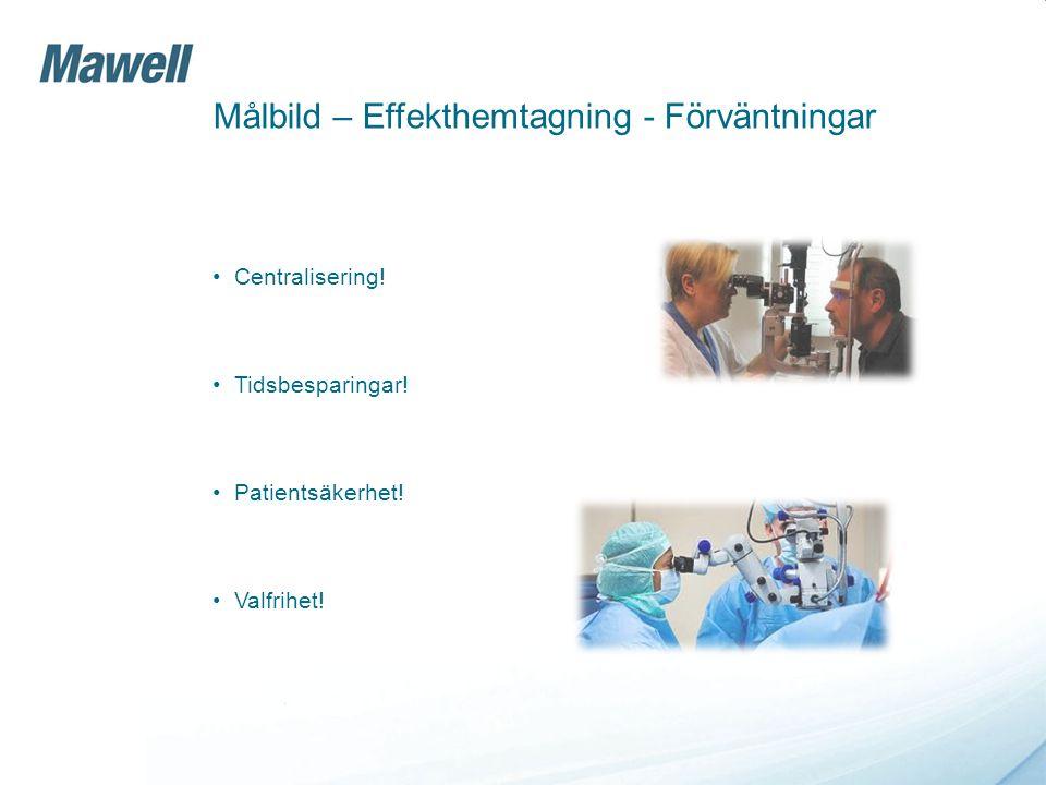Målbild – Effekthemtagning - Förväntningar Centralisering! Tidsbesparingar! Patientsäkerhet! Valfrihet!