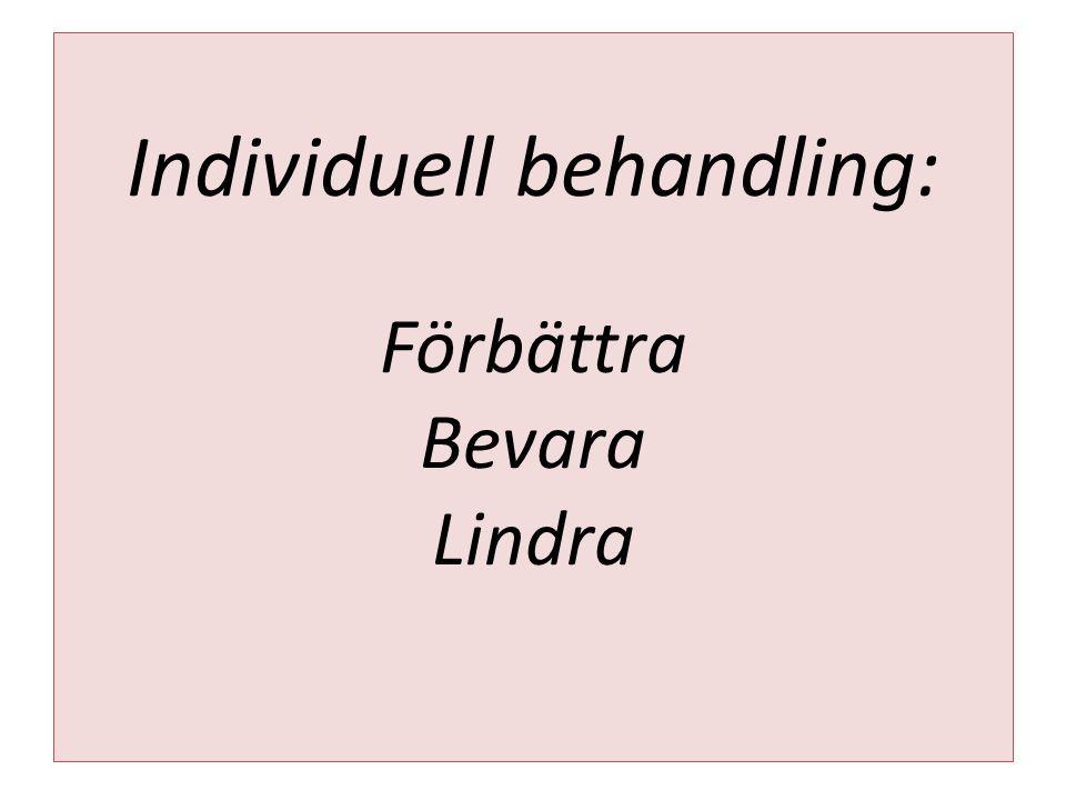 Individuell behandling: Förbättra Bevara Lindra