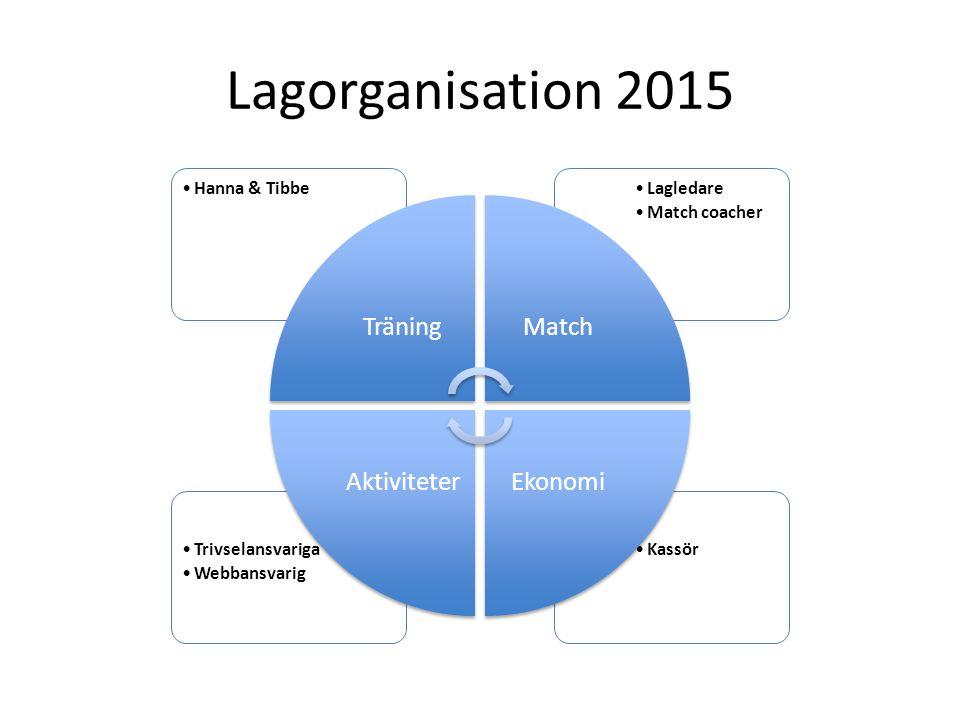 Lagorganisation 2015 KassörTrivselansvariga Webbansvarig Lagledare Match coacher Hanna & Tibbe TräningMatch EkonomiAktiviteter