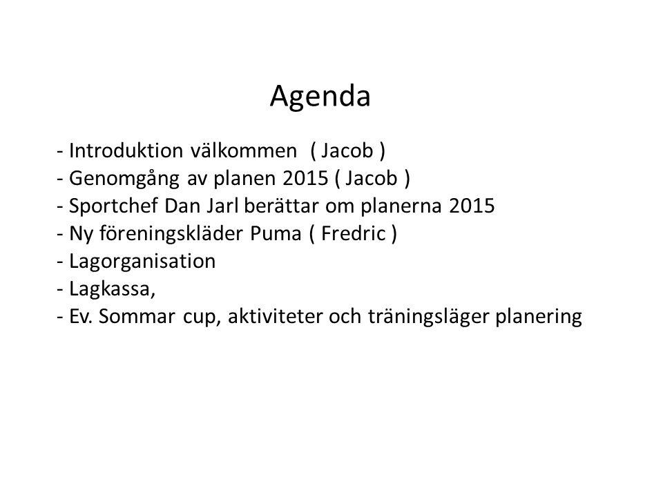 Agenda - Introduktion välkommen ( Jacob ) - Genomgång av planen 2015 ( Jacob ) - Sportchef Dan Jarl berättar om planerna 2015 - Ny föreningskläder Puma ( Fredric ) - Lagorganisation - Lagkassa, - Ev.