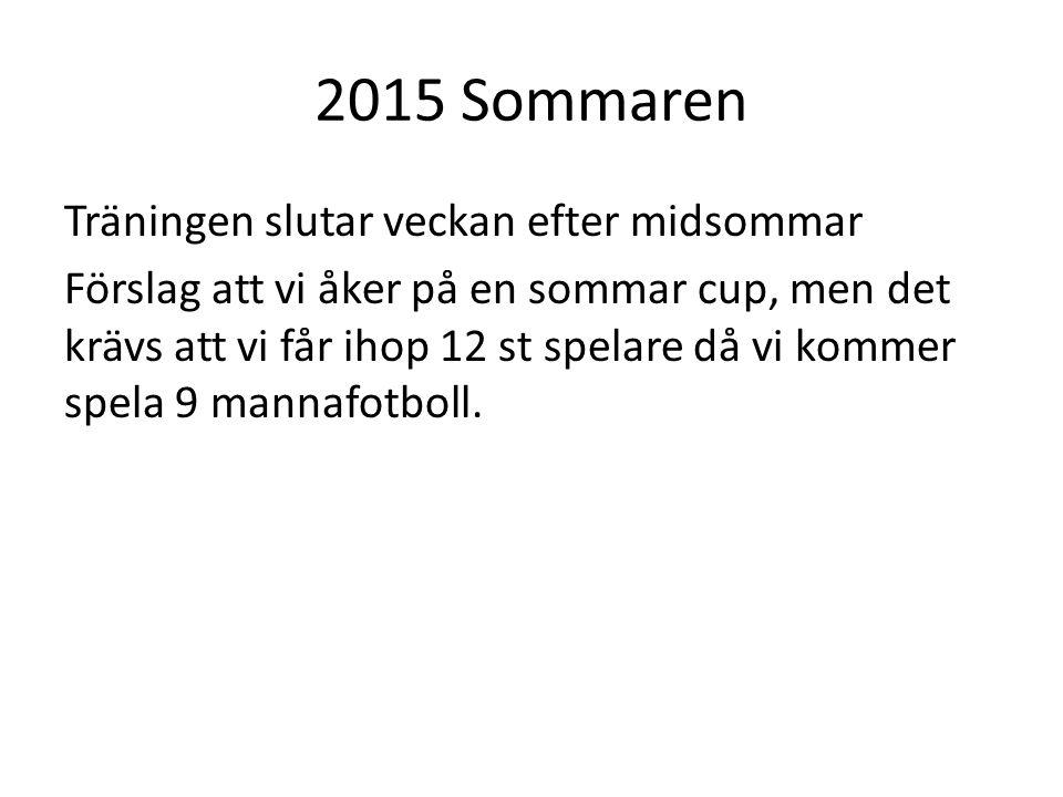 2015 Sommaren Träningen slutar veckan efter midsommar Förslag att vi åker på en sommar cup, men det krävs att vi får ihop 12 st spelare då vi kommer spela 9 mannafotboll.