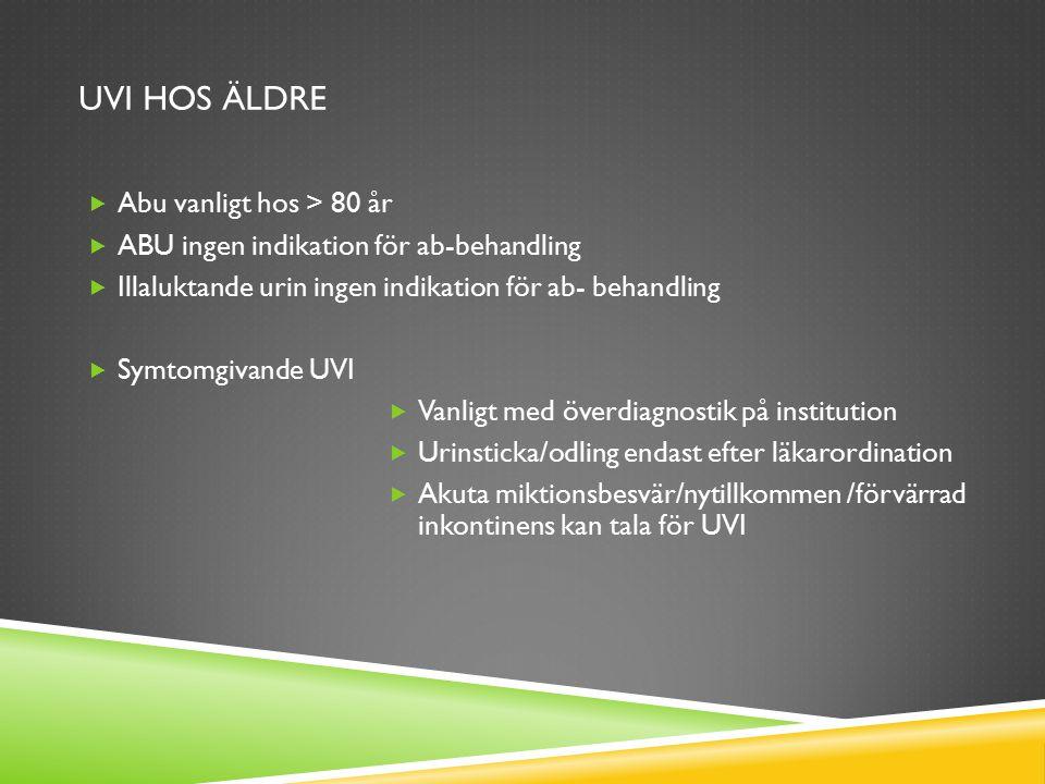 UVI HOS ÄLDRE  Abu vanligt hos > 80 år  ABU ingen indikation för ab-behandling  Illaluktande urin ingen indikation för ab- behandling  Symtomgivan
