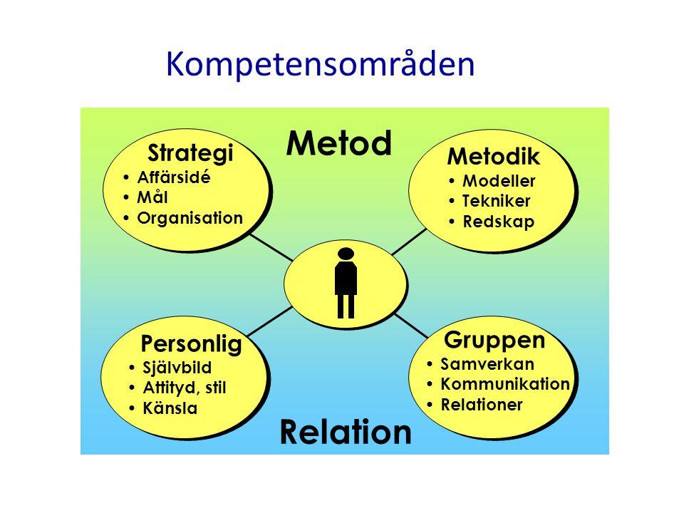 Strategi Affärsidé Mål Organisation Relation Metod Metodik Modeller Tekniker Redskap Personlig Självbild Attityd, stil Känsla Gruppen Samverkan Kommun