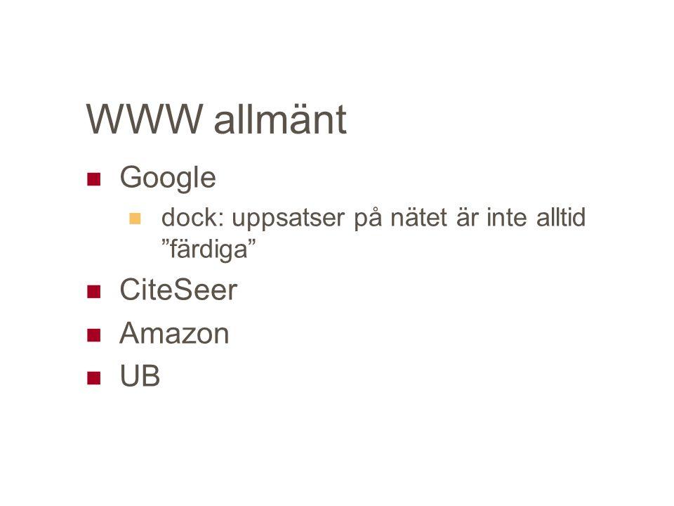 WWW allmänt Google dock: uppsatser på nätet är inte alltid färdiga CiteSeer Amazon UB