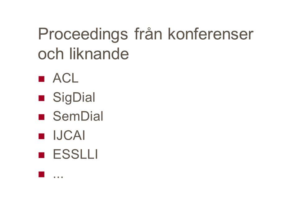 Proceedings från konferenser och liknande ACL SigDial SemDial IJCAI ESSLLI...