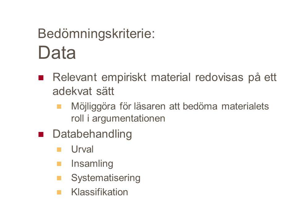 Bedömningskriterie: Data Relevant empiriskt material redovisas på ett adekvat sätt Möjliggöra för läsaren att bedöma materialets roll i argumentationen Databehandling Urval Insamling Systematisering Klassifikation