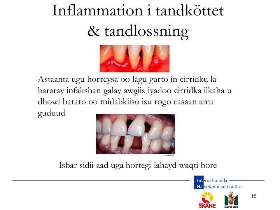 Internationella Hälsokommunikatörer 18 Inflammation i tandköttet & tandlossning Astaanta ugu horreysa oo lagu garto in cirridku la bararay infakshan g
