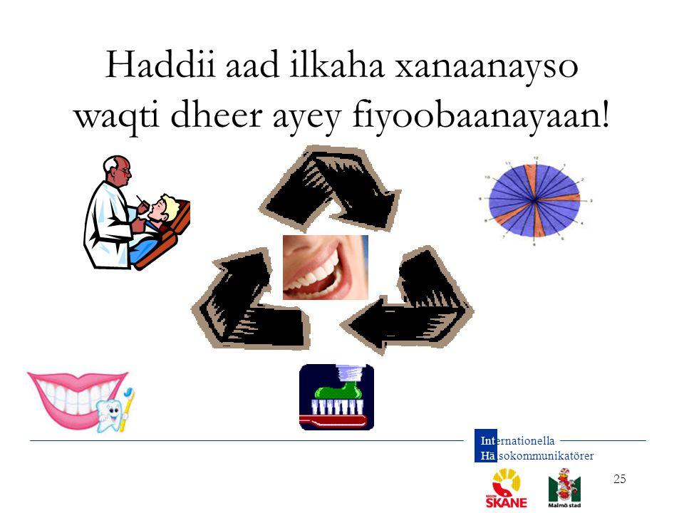 Internationella Hälsokommunikatörer 25 Haddii aad ilkaha xanaanayso waqti dheer ayey fiyoobaanayaan!