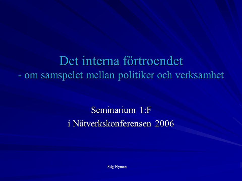 Det interna förtroendet - om samspelet mellan politiker och verksamhet Seminarium 1:F i Nätverkskonferensen 2006 Stig Nyman