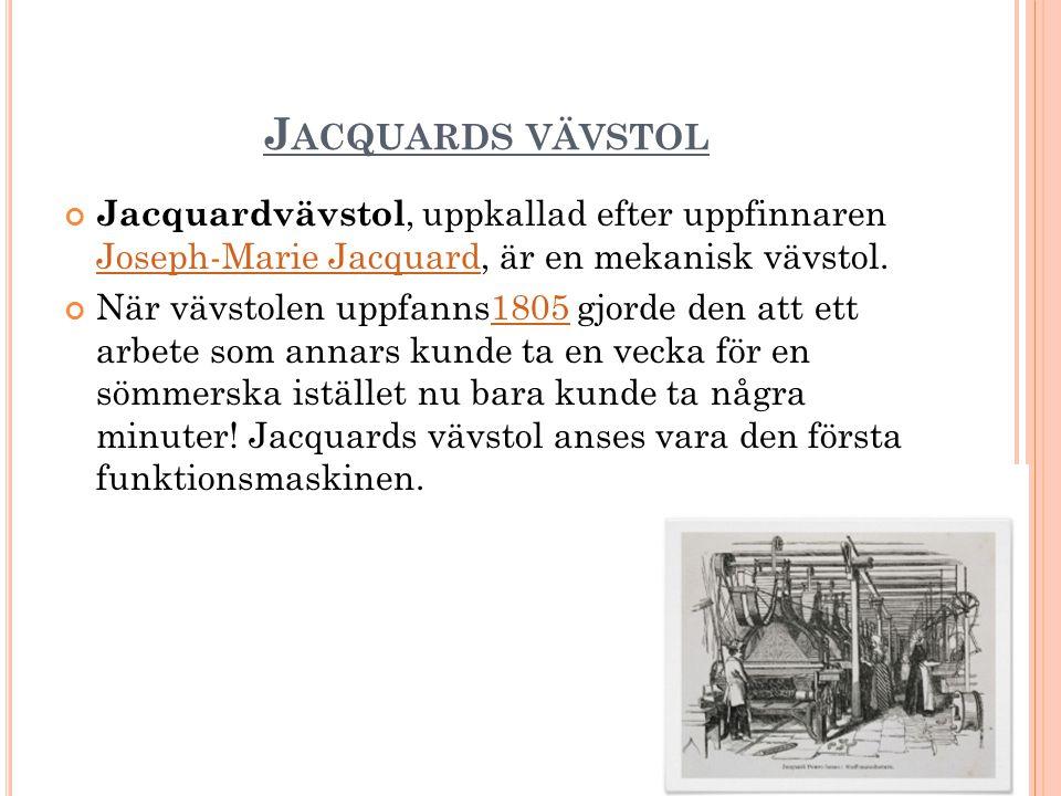 J ACQUARDS VÄVSTOL Jacquardvävstol, uppkallad efter uppfinnaren Joseph-Marie Jacquard, är en mekanisk vävstol.