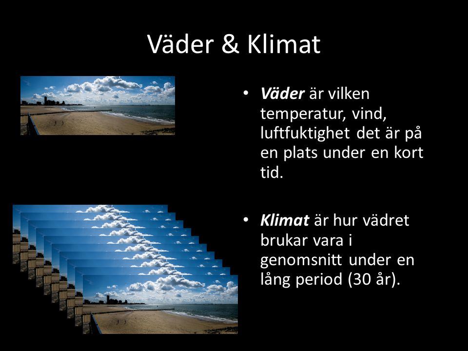Väder & Klimat Väder Väder är vilken temperatur, vind, luftfuktighet det är på en plats under en kort tid. Klimat är hur vädret brukar vara i genomsni