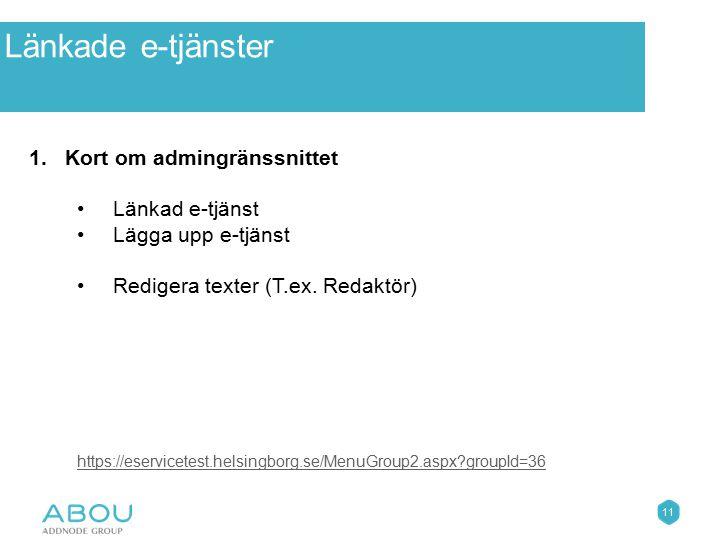 11 Övningar 1.Kort om admingränssnittet Länkad e-tjänst Lägga upp e-tjänst Redigera texter (T.ex. Redaktör) https://eservicetest.helsingborg.se/MenuGr