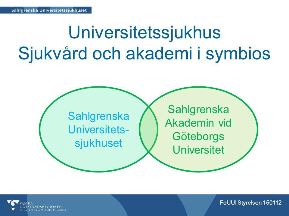 Universitetssjukhus Sjukvård och akademi i symbios FoUUI Styrelsen 150112 Sahlgrenska Universitets- sjukhuset Sahlgrenska Akademin vid Göteborgs Unive