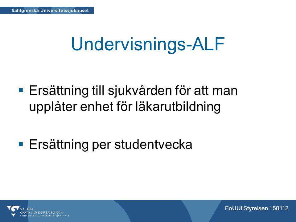 Undervisnings-ALF  Ersättning till sjukvården för att man upplåter enhet för läkarutbildning  Ersättning per studentvecka FoUUI Styrelsen 150112