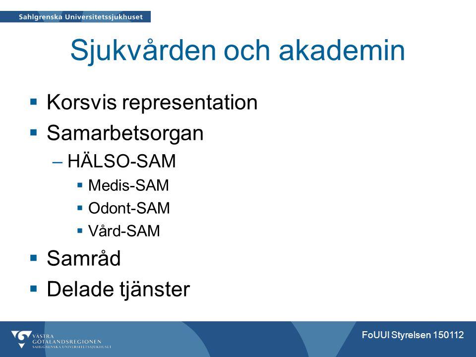 Sjukvården och akademin  Korsvis representation  Samarbetsorgan –HÄLSO-SAM  Medis-SAM  Odont-SAM  Vård-SAM  Samråd  Delade tjänster FoUUI Styre