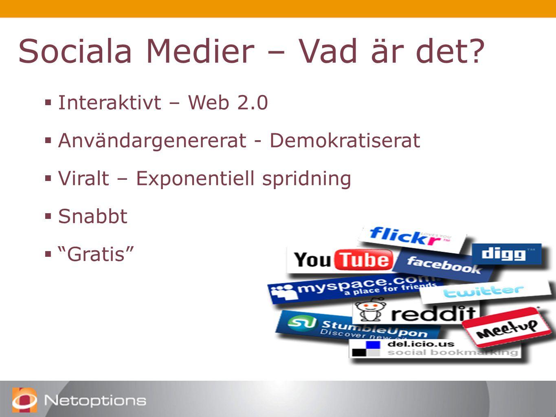  Interaktivt – Web 2.0  Användargenererat - Demokratiserat  Viralt – Exponentiell spridning  Snabbt  Gratis Sociala Medier – Vad är det