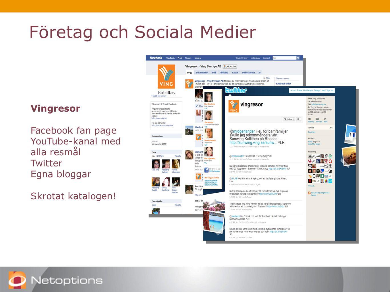 Vingresor Facebook fan page YouTube-kanal med alla resmål Twitter Egna bloggar Skrotat katalogen!