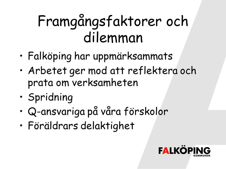 Framgångsfaktorer och dilemman Falköping har uppmärksammats Arbetet ger mod att reflektera och prata om verksamheten Spridning Q-ansvariga på våra förskolor Föräldrars delaktighet