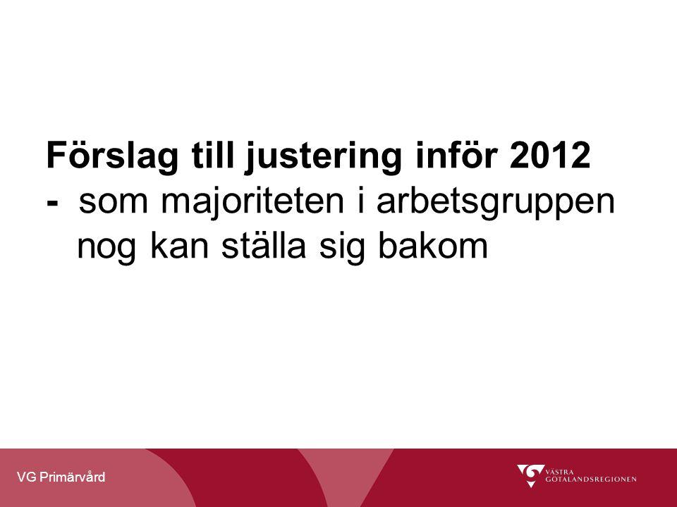 VG Primärvård Förslag till justering inför 2012 - som majoriteten i arbetsgruppen nog kan ställa sig bakom