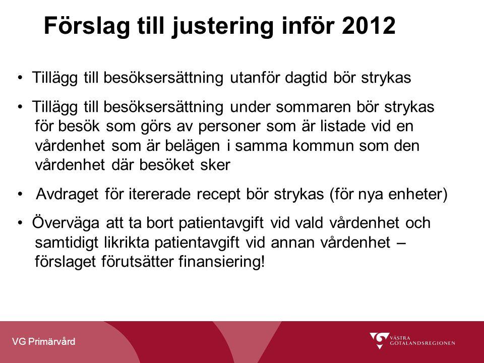 VG Primärvård Förslag till justering inför 2012 Tillägg till besöksersättning utanför dagtid bör strykas Tillägg till besöksersättning under sommaren