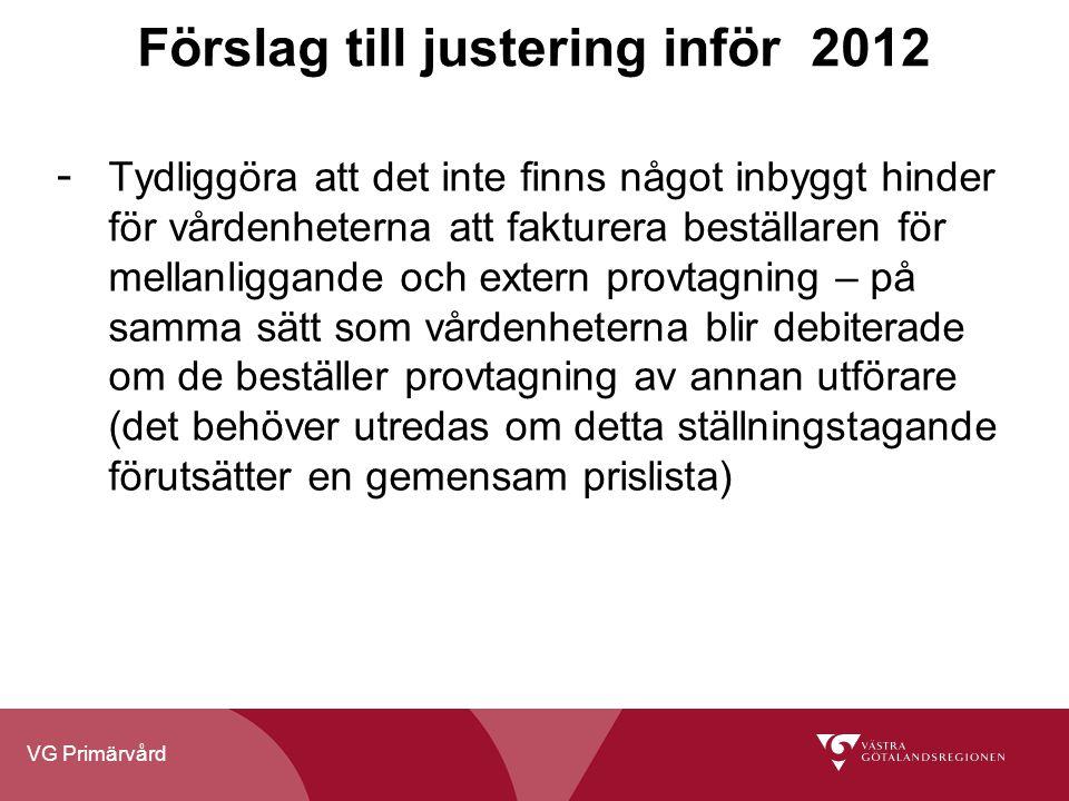 VG Primärvård Förslag till justering inför 2012 - Tydliggöra att det inte finns något inbyggt hinder för vårdenheterna att fakturera beställaren för m