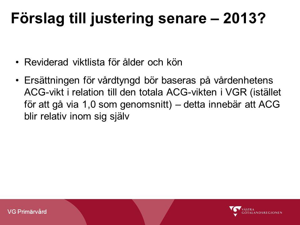 VG Primärvård Förslag till justering senare – 2013? Reviderad viktlista för ålder och kön Ersättningen för vårdtyngd bör baseras på vårdenhetens ACG-v